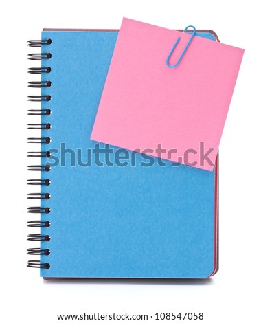 Blue notebook with notice papers isolated on white background cutout