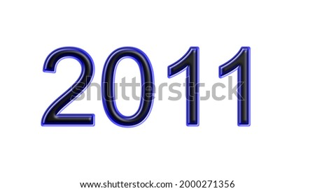 blue 2011 number 3d effect white background Foto stock ©