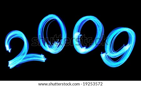 Blue number 2009 light painted with LED lights