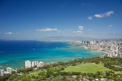 Blue ocean of Honolulu, view from Diamond Head monument