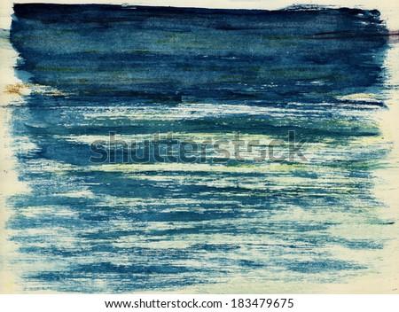 Blue ocean under blue skies. Watercolor illustration. #183479675