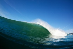 Blue Ocean Wave Breaking in Ocean, Epic Surfing