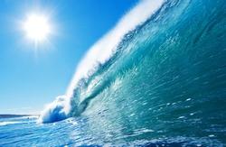 Blue Ocean Wave, Sunny Sky Epic Surfing