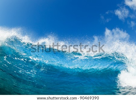 Blue Ocean Wave, View from in the Water #90469390