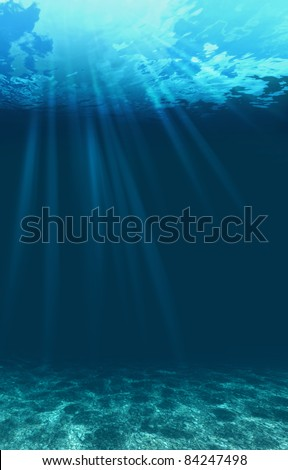 Blue ocean waves from underwater