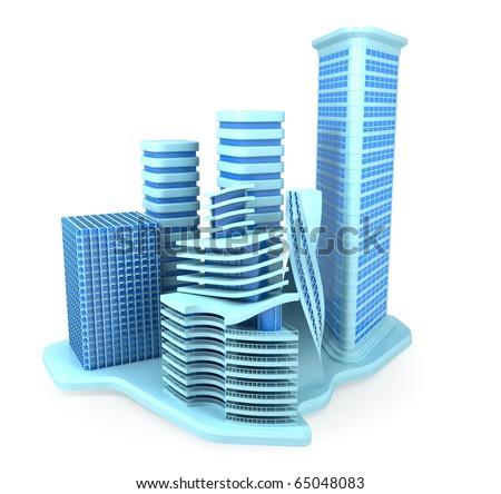 Blue Office Buildings