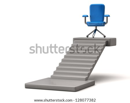Blue office chair on stair platform, 3d image