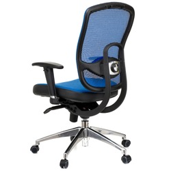 blue office chair, stainless steel legs, black handles, isolated on white background, back view, stock photography