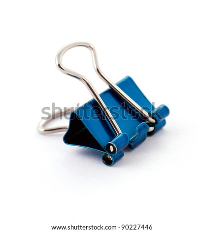 blue office clamp on a white background