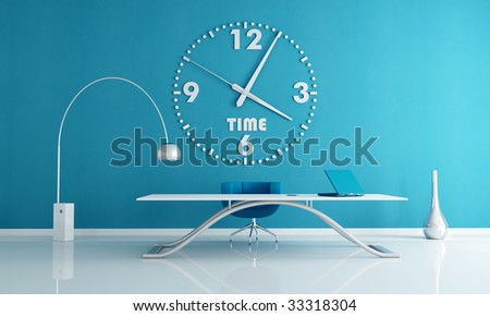 blue office space with big wall clock -rendering