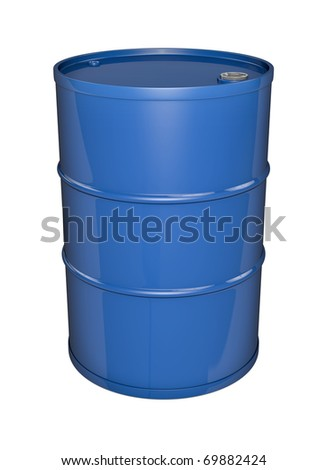 Blue oil barrel. 3D rendered image.