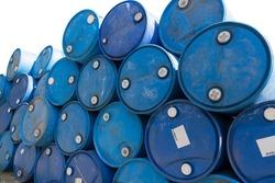 blue oil barrels