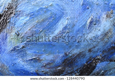 Blue oil painting background. Macro and details of oil painting of a sky in the style of Van Gogh