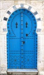 Blue old doors - symbol of Tunisia