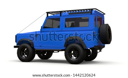Blue old small SUV tuned for difficult routes and expeditions. 3d rendering.