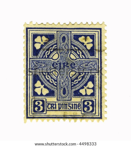 blue old stamp from ireland
