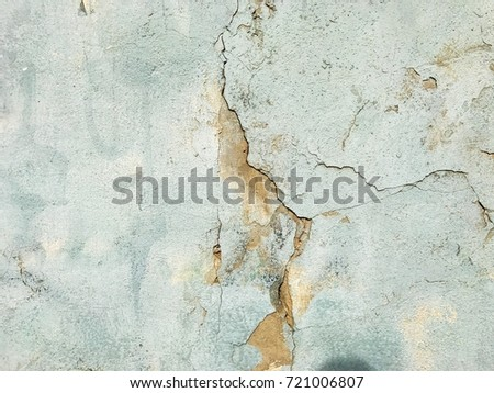 blue old wall cement covering crack rough background texture (mobile photo)