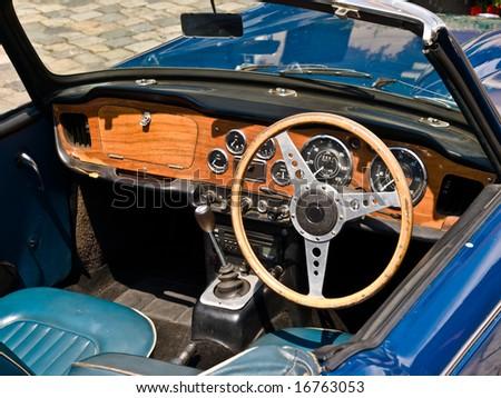 Blue Oldtimer interior. Close up ona a front panel.