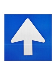 Blue one way traffic sign
