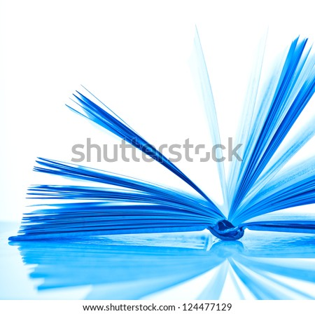 blue open book on white