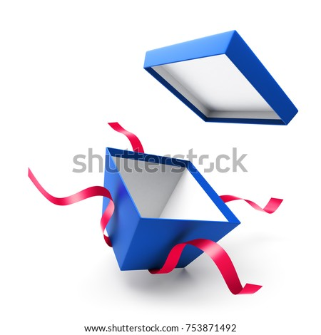 Blue open gift box with ribbon isolated on white background #753871492