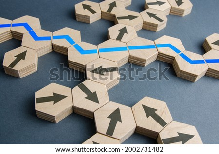 Blue optimal path among all possible movement options. Business strategic planning, risk management. New markets opportunities. Action plan, solution path. Optimization, adjustment of the process.