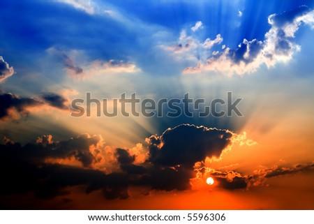 blue orange sunset - dramatic light