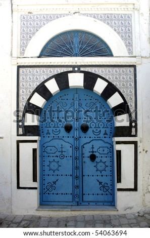 "Blue oriental doors in Sidi Bou Said, ""Blue city"", Tunisia"