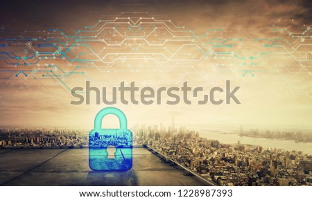 Blue padlock icon hologram on the rooftop of a skyscraper over the big city horizon at sunset. Future security password cyber attack information, protection lock safeguard shield.