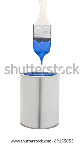 Blue Paint Brush and Can isolated on white background