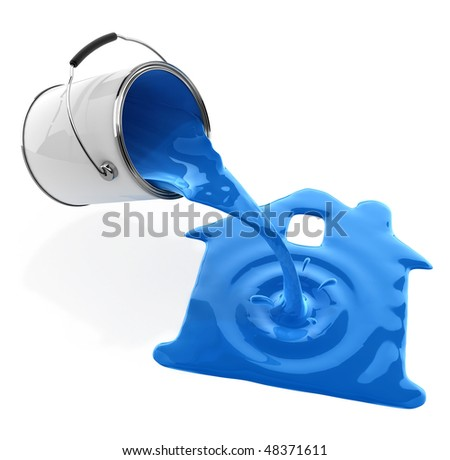 blue paint pouring from bucket in house silhouette 3d-illustration, isolated on white background, with clipping path included