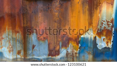 Blue painted metal with rust texture stock photo