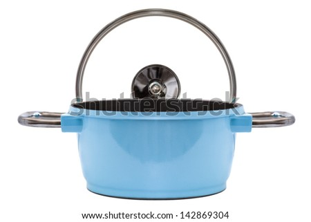 Blue Pan and cooking top isolated on white