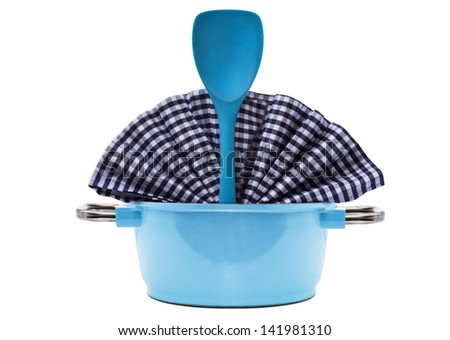 Blue Pan and Kitchen Utensil isolated on white