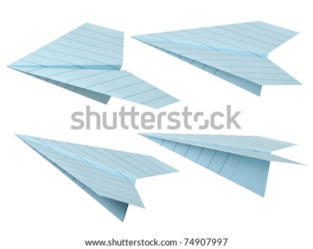 Blue paper airplane. - stock photo