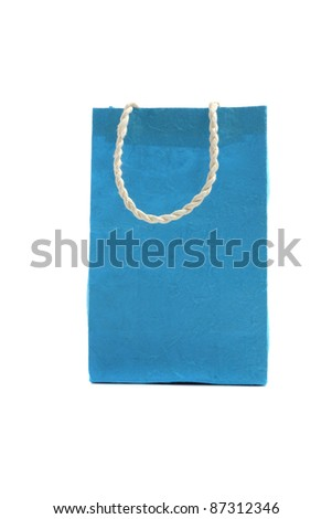 Blue paper bag isolated in white background