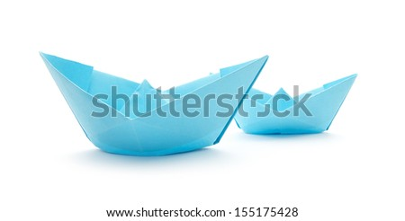 blue paper boats isolated on white background #155175428