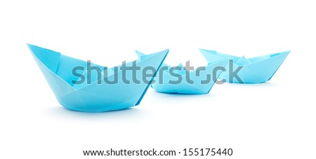 blue paper boats isolated on white background #155175440
