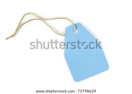blue paper label isolated on white