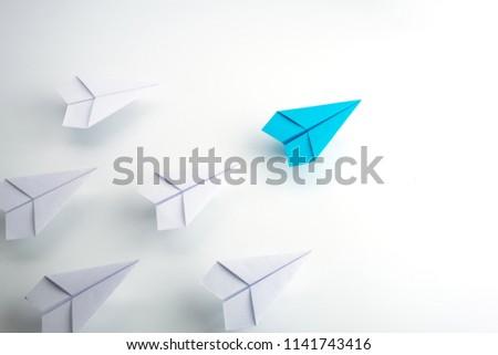 Blue paper plane leader concept, white background. Stock photo ©