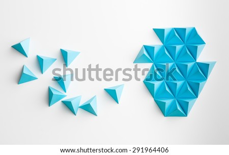blue paper pyramids merging...