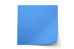 Blue paper stick note on a white background