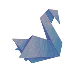 Blue paper swan. Stock illustration.