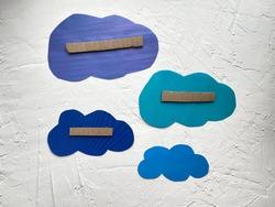 Blue paper template - cloud, kids craft 3d applique.