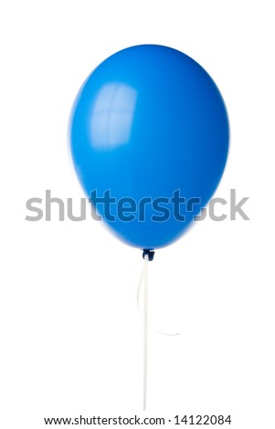 Blue party balloon isolated on a white background. Clipping path included.