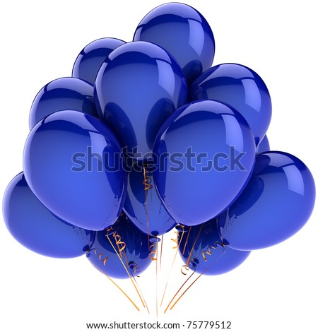 Blue party balloons. Happy birthday decoration. Retirement anniversary graduation greeting card concept. Positive emotion fun joy happiness abstract. Detailed 3d render. Isolated on white background