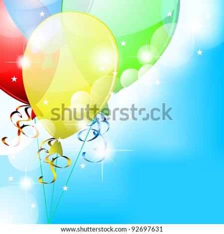 Blue party card with colorful transparent balloons and little stars
