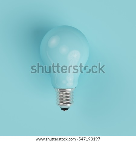 blue pastel Light bulb on blue pastel background. minimal concept. top view. - Shutterstock ID 547193197