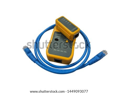Blue patch cable with yellow cable tester. #1449093077