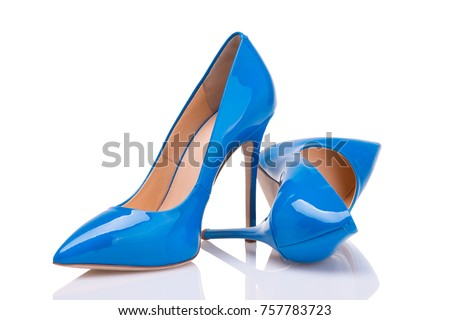 Blue patent leather shoes on a white background #757783723